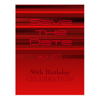 Red Stripes 50th Birthday Save the Date Postcard