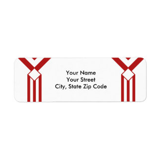 Red Stripes and Chevrons on White address label