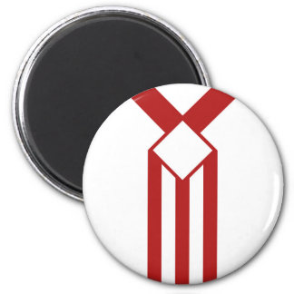Red Stripes and Chevrons on White Magnet