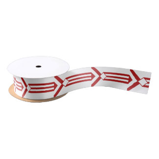 Red Stripes and Chevrons on White Satin Ribbon