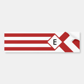 Red Stripes and Chevrons with Monogram on White Bumper Sticker