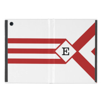 Red Stripes and Chevrons with Monogram on White iPad Mini Cover