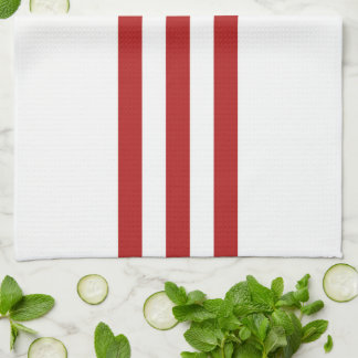 Red Stripes and Chevrons with Monogram on White Kitchen Towel