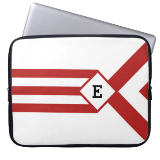 Red Stripes and Chevrons with Monogram on White Laptop Sleeves
