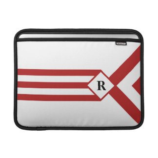 Red Stripes and Chevrons with Monogram on White MacBook Air Sleeve