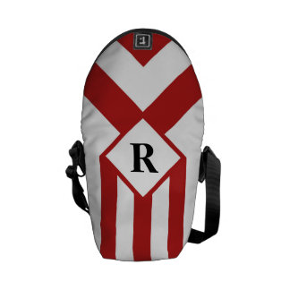 Red Stripes and Chevrons with Monogram on White Messenger Bag