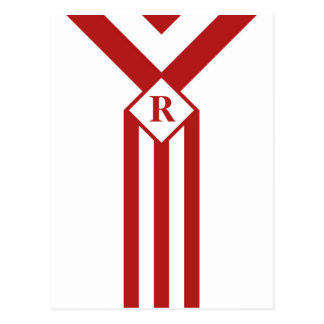 Red Stripes and Chevrons with Monogram on White Postcard