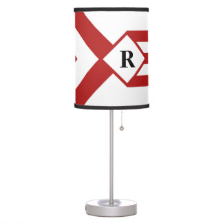 Red Stripes and Chevrons with Monogram on White Table Lamp
