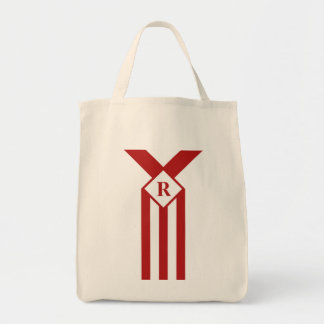 Red Stripes and Chevrons with Monogram on White Tote Bag