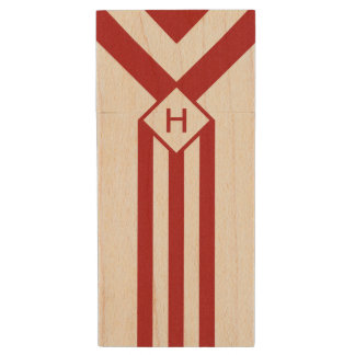 Red Stripes and Chevrons with Monogram on White Wood USB Flash Drive