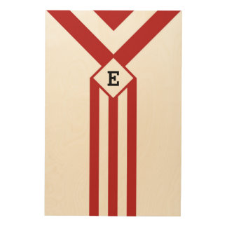 Red Stripes and Chevrons with Monogram on White Wood Wall Decor