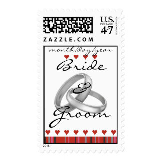 Red Stripes and Garden of Hearts Stamp