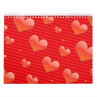 Red stripes and Hearts pattern Calendar
