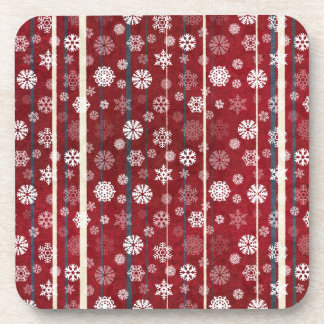 Red Stripes And Snowflakes Drink Coaster