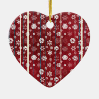 Red Stripes and Snowflakes Heart Ceramic Ornament