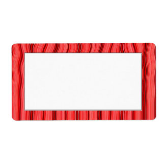 red stripes and waves label