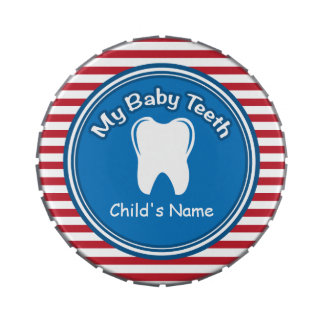 Red Stripes Baby Tooth Fairy Tin Jelly Belly Tin