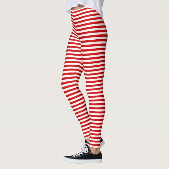 Red stripes Christmas elf costume Leggings