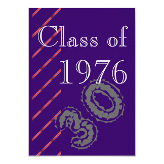 Red stripes Class reunion party Card