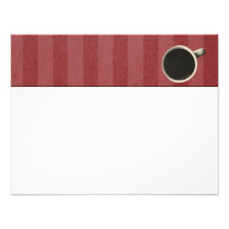 Red Stripes Coffee Cup Flat Note Cards Announcement