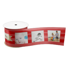 Red Stripes Family Photos Merry Little Christmas Satin Ribbon