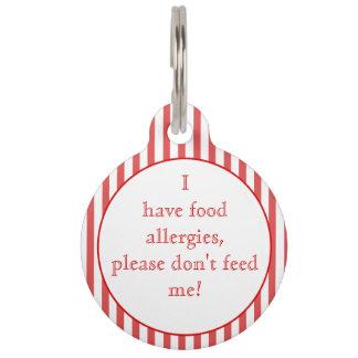 Red stripes Food Allergies Medical Alert Pet Tag