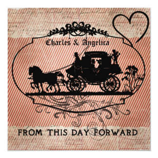 """Red Stripes From This Day Forward  Wedding Invite 5.25"""" Square Invitation Card"""