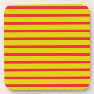 Red Stripes Gold Background Coasters