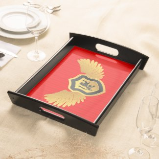 Red Stripes Gold & Black Heraldic Lion Food Trays