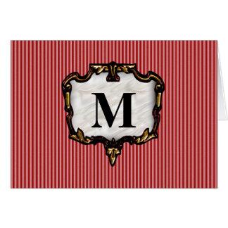 Red Stripes, Gold Monogram Card