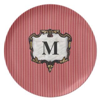 Red Stripes Gold Monogram Plates