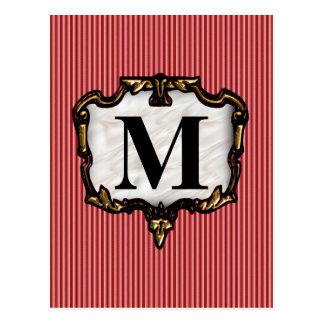 Red Stripes, Gold Monogram Postcard