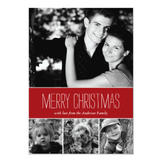 Red Stripes Happy Holidays Photo Card