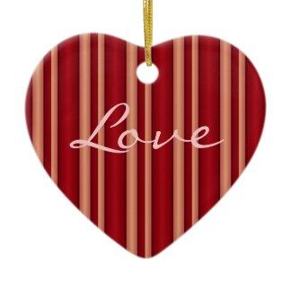 Red stripes Love together forever ornament