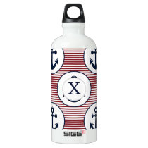 Red Stripes Navy Blue Anchor Nautical Pattern Aluminum Water Bottle