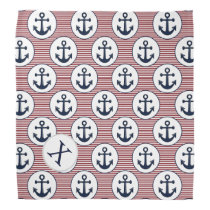 Red Stripes Navy Blue Anchor Nautical Pattern Bandana
