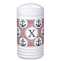 Red Stripes Navy Blue Anchor Nautical Pattern Beverage Cooler