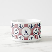 Red Stripes Navy Blue Anchor Nautical Pattern Bowl