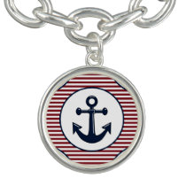 Red Stripes Navy Blue Anchor Nautical Pattern Bracelets