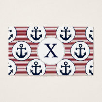 Red Stripes Navy Blue Anchor Nautical Pattern Business Card