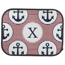 Red Stripes Navy Blue Anchor Nautical Pattern Car Mat