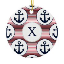 Red Stripes Navy Blue Anchor Nautical Pattern Ceramic Ornament