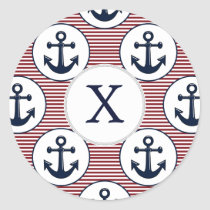 Red Stripes Navy Blue Anchor Nautical Pattern Classic Round Sticker