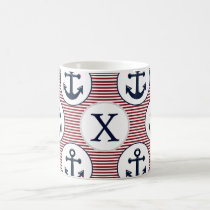 Red Stripes Navy Blue Anchor Nautical Pattern Coffee Mug