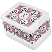 Red Stripes Navy Blue Anchor Nautical Pattern Cooler