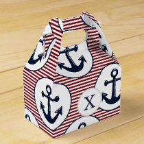 Red Stripes Navy Blue Anchor Nautical Pattern Favor Box
