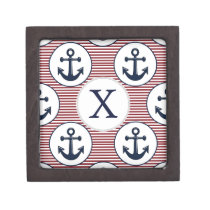 Red Stripes Navy Blue Anchor Nautical Pattern Keepsake Box