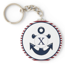 Red Stripes Navy Blue Anchor Nautical Pattern Keychain