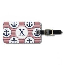 Red Stripes Navy Blue Anchor Nautical Pattern Luggage Tag