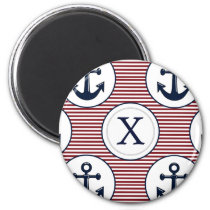 Red Stripes Navy Blue Anchor Nautical Pattern Magnet